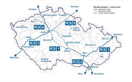 auto mapa česká republika VRT vysokorychlostní tratě železnice