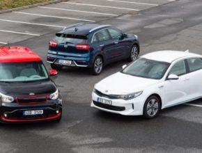Kia Niro hybrid, elektromobil Kia Soul EV a plug-in Hybrid Kia Optima PHEV