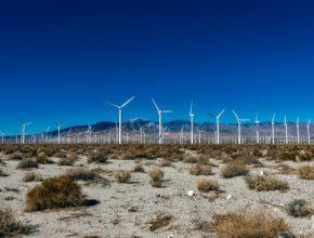 auto větrné elektrárny farma Kalifornie USA poušť