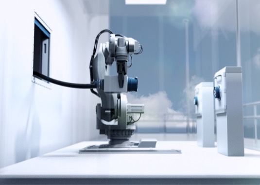 Dokovací nabíjecí stanice s robotem ABB IRB 7600