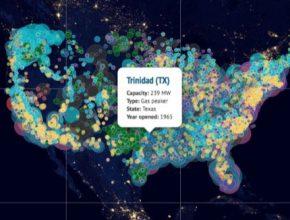 auto mapa výroba elektřiny v USA elektrárny