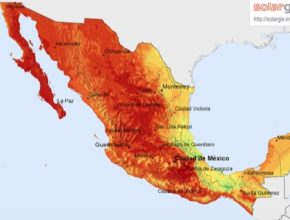 mapa Mexika solární solargis.info