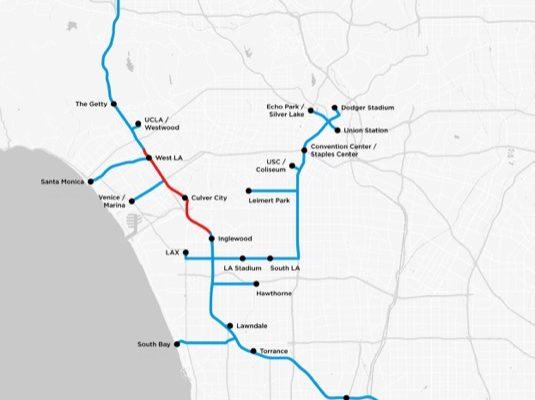 auto Los Angeles mapa tunelů Boring Company
