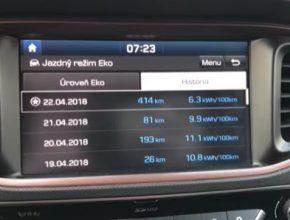 Na obrázku je sice hodnota 414 km, ale 4 km byly najety před rekordní testovací jízdou 410 km na jedno nabití.
