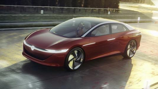 Elektrická budoucnost podle koncernu Volkswagen - koncept elektromobilu I.D. Vizzion, plně elektrické limuzíny.