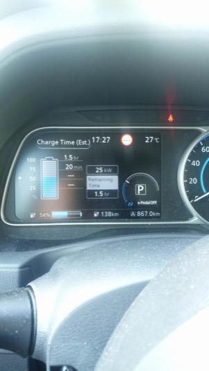 Rychlost nabíjení při zvýšené teplotě baterie, která byla zvýšená dá se říct normální jizdou s občasným zrychlením při teplotě 27 stupnů při jízdě do Zlína (30 km).