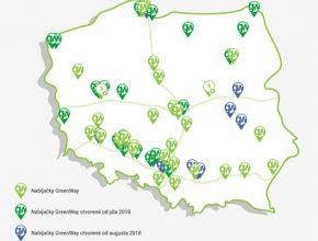 auto mapa nabíjecích stanic sítě GreenWay Polsko
