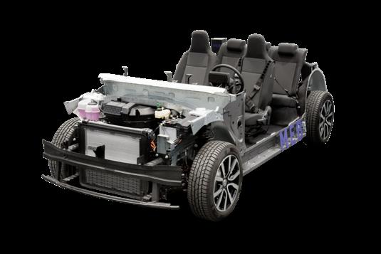 Univezální podvozek MEB určený pro elektromobily značky Volkswagen