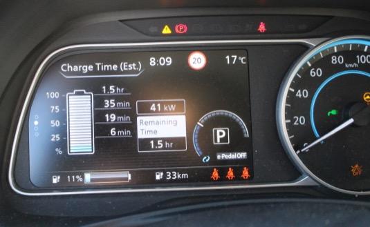 Nabíjíme výkonem 41 kW, ačkoliv auto by mělo zvládat až 50 kW.
