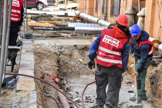 Brno stavba výkopy
