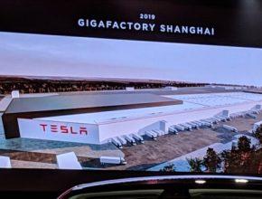 Grafika zobrazující finální podobu Tesla Gigafactory 3 v čínské Šanghaji.