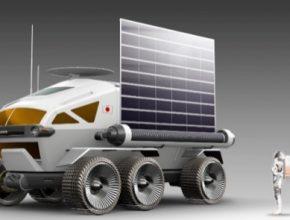 Vozidlo s přetlakovou kabinou pro lidskou posádku zajistí mobilitu na povrchu Měsíce. Druhý snímek zachycuje pneumatiku s optimalizovanou styčnou plochu.