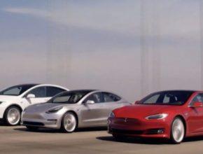 auto elektromobily Tesla Model 3, MOdel S a Model X