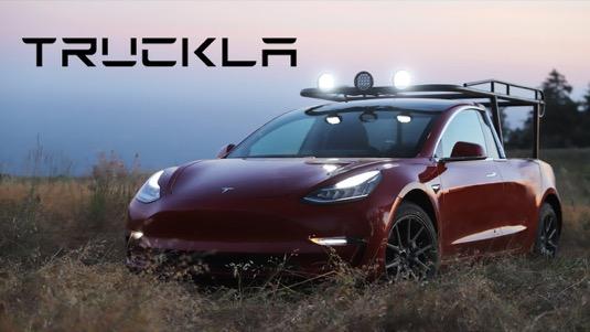 auto elektromobil Truckla Tesla Model 3 pick-up