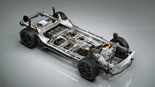 Podvozek elektrického prototypu Mazda e-TPV