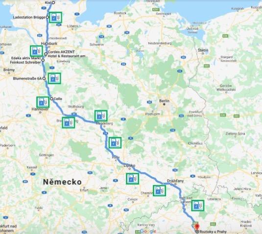 Mapa cesty z aplikace PlugShare