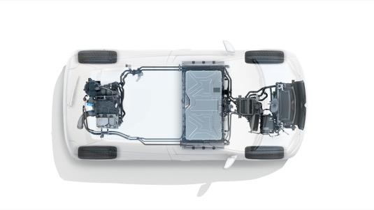 Rozložení komponent v elektromobilu Renault Twingo Z.E: