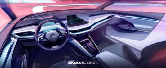 Interiér elektromobilu Škoda Enyaq iV