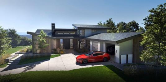 auto elektromobil Tesla modelový rodinný dům
