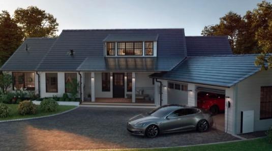 auto Tesla Model S dům solární elektrárna panely baterie