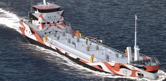 Japonsko loď ropný tanker na baterie baterky