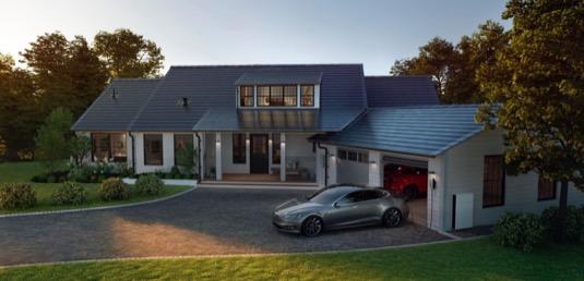 auto dům solární střešní tašky Tesla elektromobil Model 3