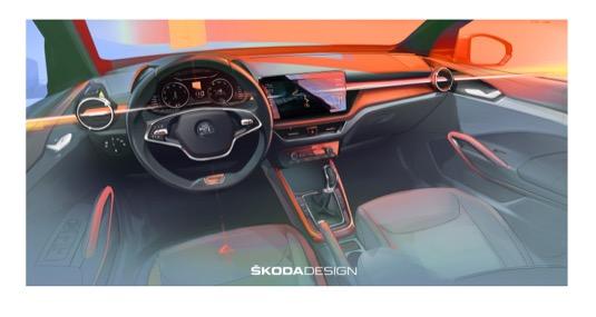 ŠKODA AUTO odhaluje další detaily o novém modelu FABIA a oficiální designovou skicou přináší první představu o interiéru čtvrté generace tohoto modelu.