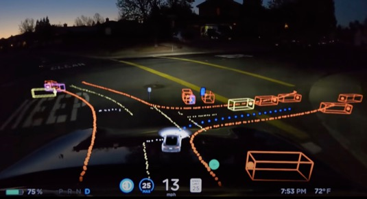 auto tesla full self driving robotické řízení autopilot