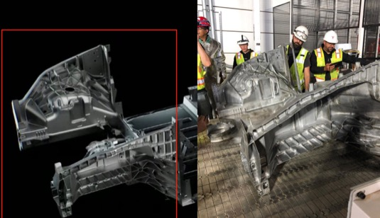auto Tesla Model Y výroba megacastingu odlitek pro elektromobil Gigatovárna Texas Tesla