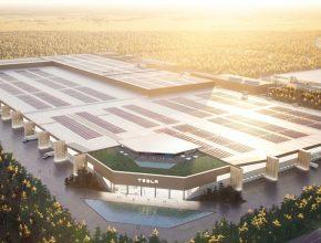 Toto by měla být finální podoba Tesla Gigafactory Berlin. Tesla ale už u své první gigatovárny v Nevadě lákala na povedené obrázky, zatímco realita je poněkud odlišná. foto: Tesla